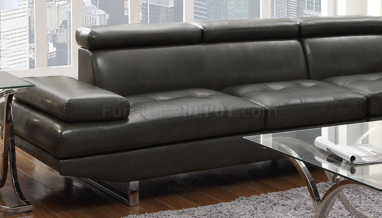 Piper Sectional Sofa 503022 in Charcoal Leather Match by Coaster : coaster sectional sofa - Sectionals, Sofas & Couches
