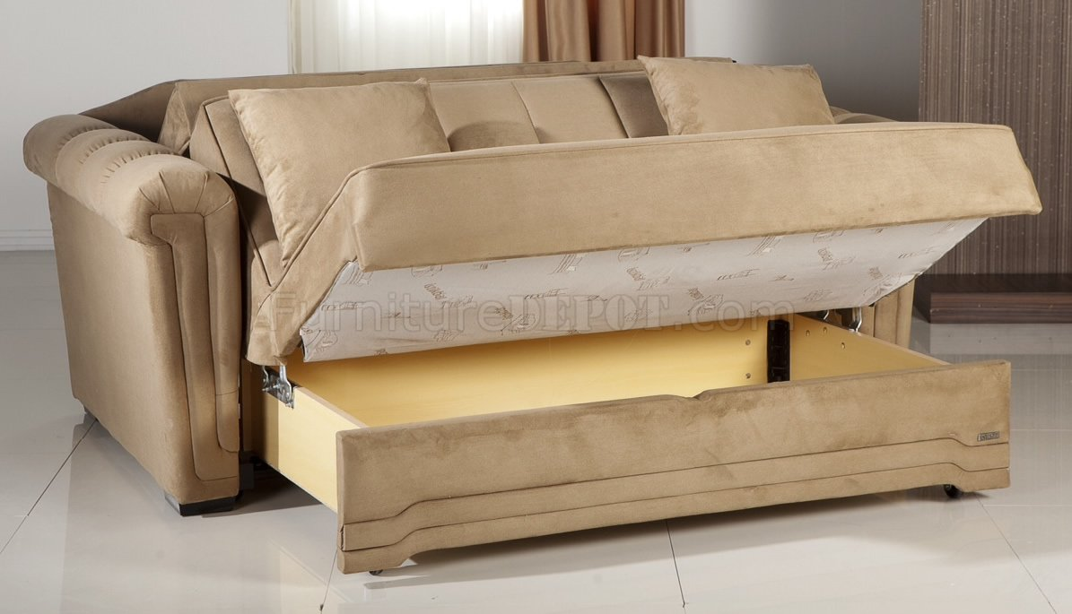 Dark Beige Microfiber Modern Convertible Loveseat Bed w/Pillows