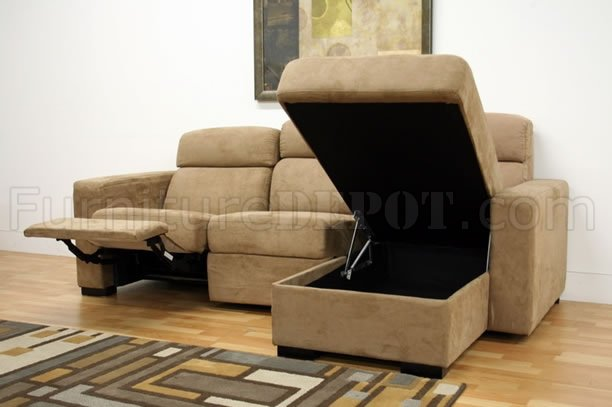 Tan microfiber modern reclining sectional sofa w storage chaise Storage loveseat