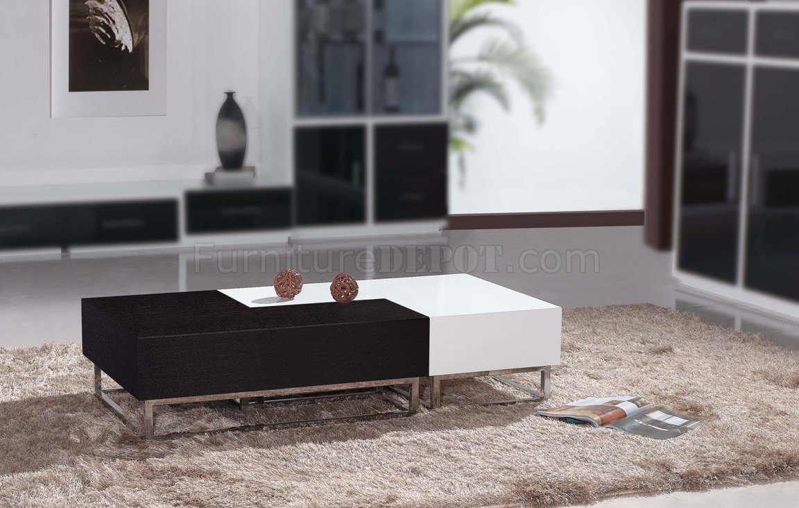 Matte Wenge Amp High Gloss White Modern 2pc Coffee Table