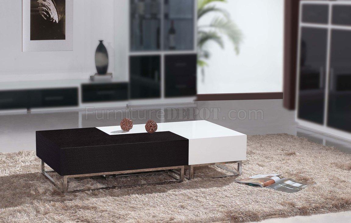 Matte Wenge Amp High Gloss White Modern 2pc Coffee Table