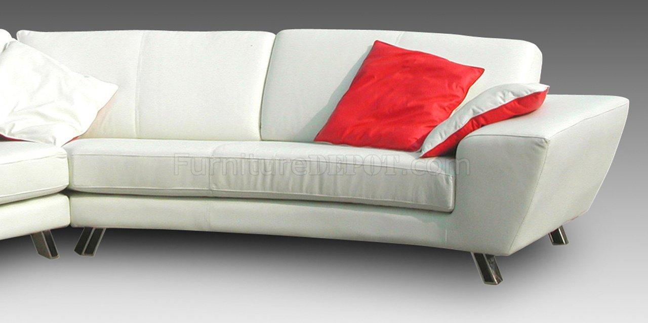 White Full Leather Modern Sectional Sofa W Chrome Metal Legs