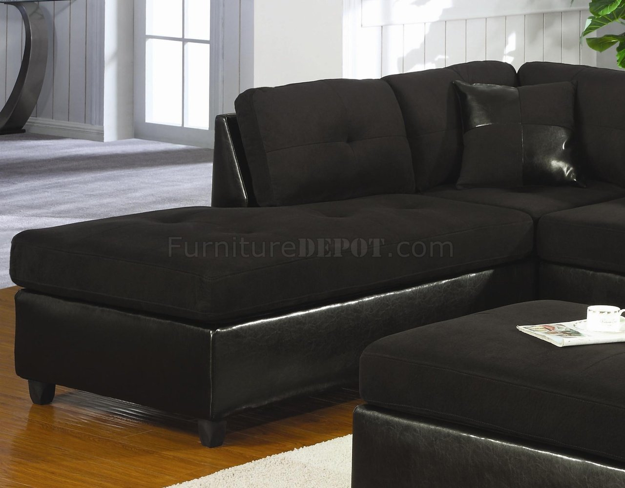 black microfiber faux leather contemporary sectional sofa p