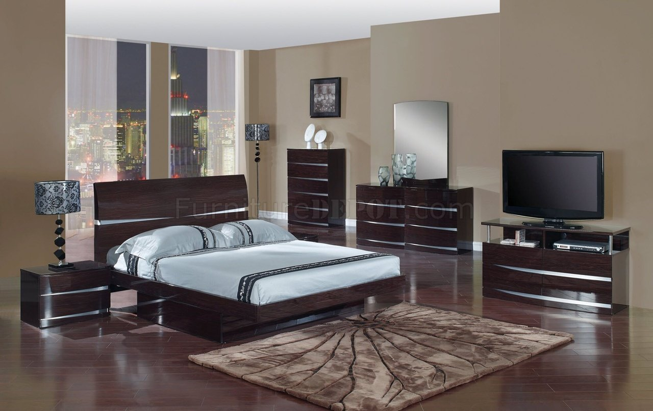 Wenge Finish Modern Stylish Bedroom Set W/Optional Casegoods