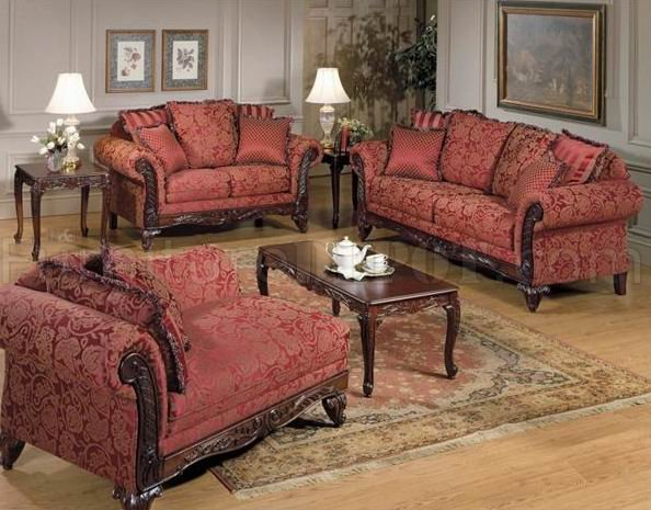Burgundy Fabric Classic Sofa & Loveseat Set w/Optional Items