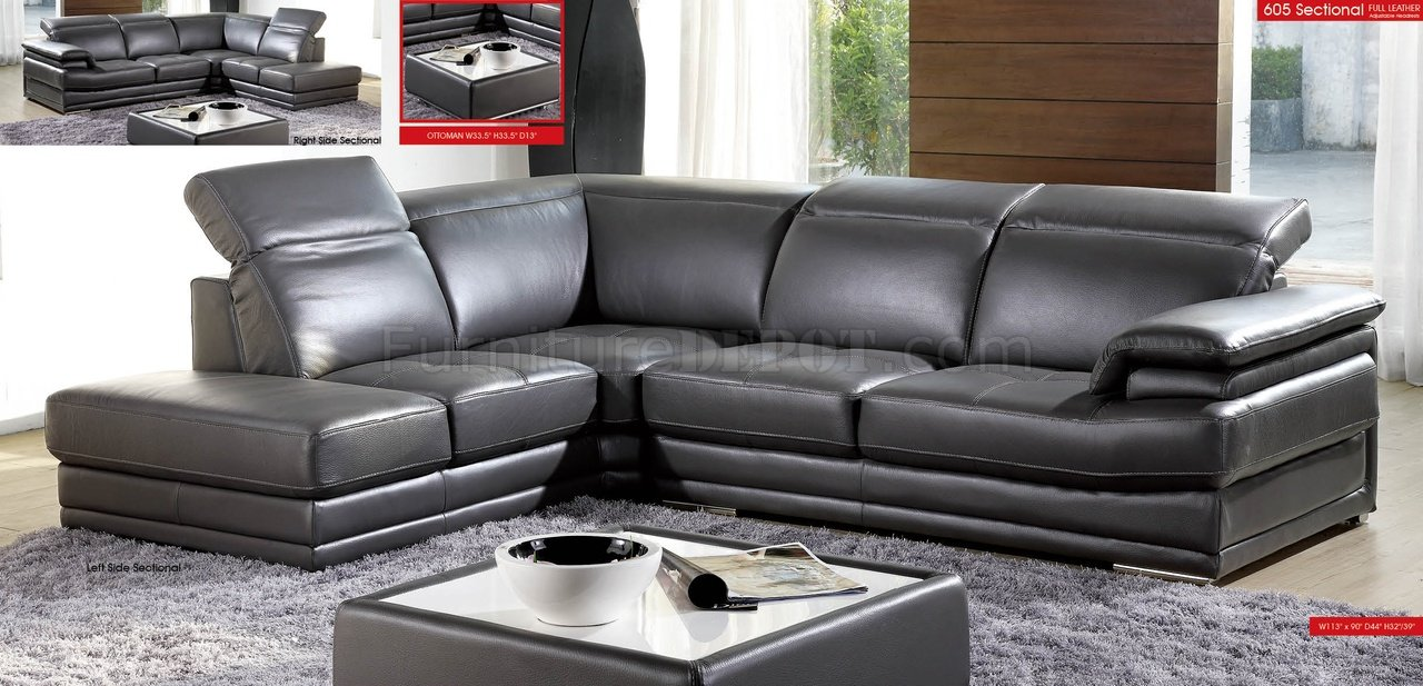 Dark Grey Full Genuine Italian Leather Modern Sectional Sofa - Dark grey leather sectional sofa