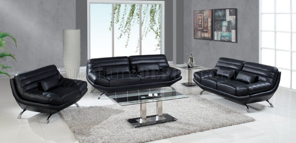 A176 Sofa Loveseat in Black Leather by Global