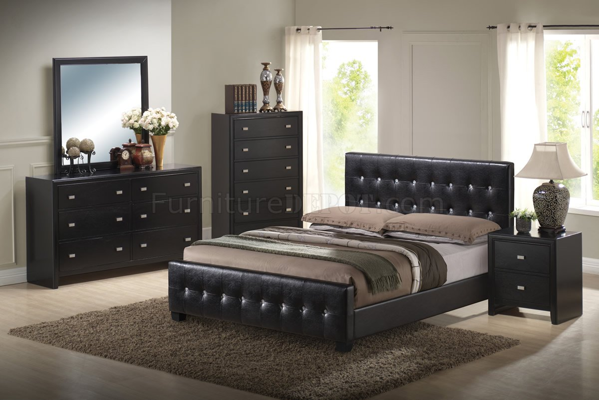 Black Finish Modern Bedroom Set W Queen Size Bed