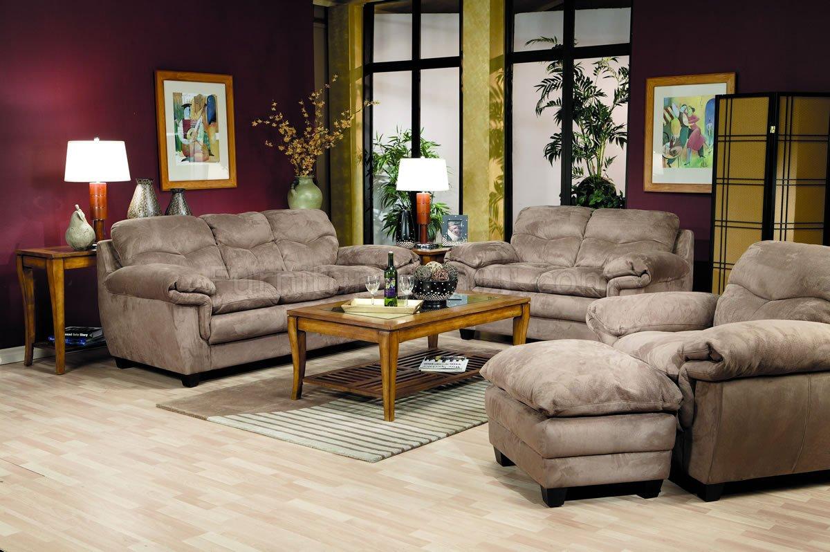 Saddle Gray Microfiber Modern Living Room W Pillow Top Seats