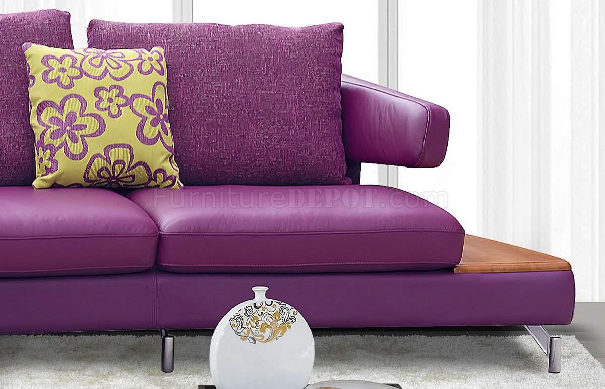 Purple genuine italian leather modern sectional sofa w shelves for Genuine italian leather sectional sofa
