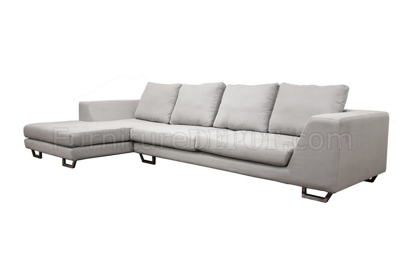 Grey Twill Fabric Modern Sectional Sofa TD6301A35914A