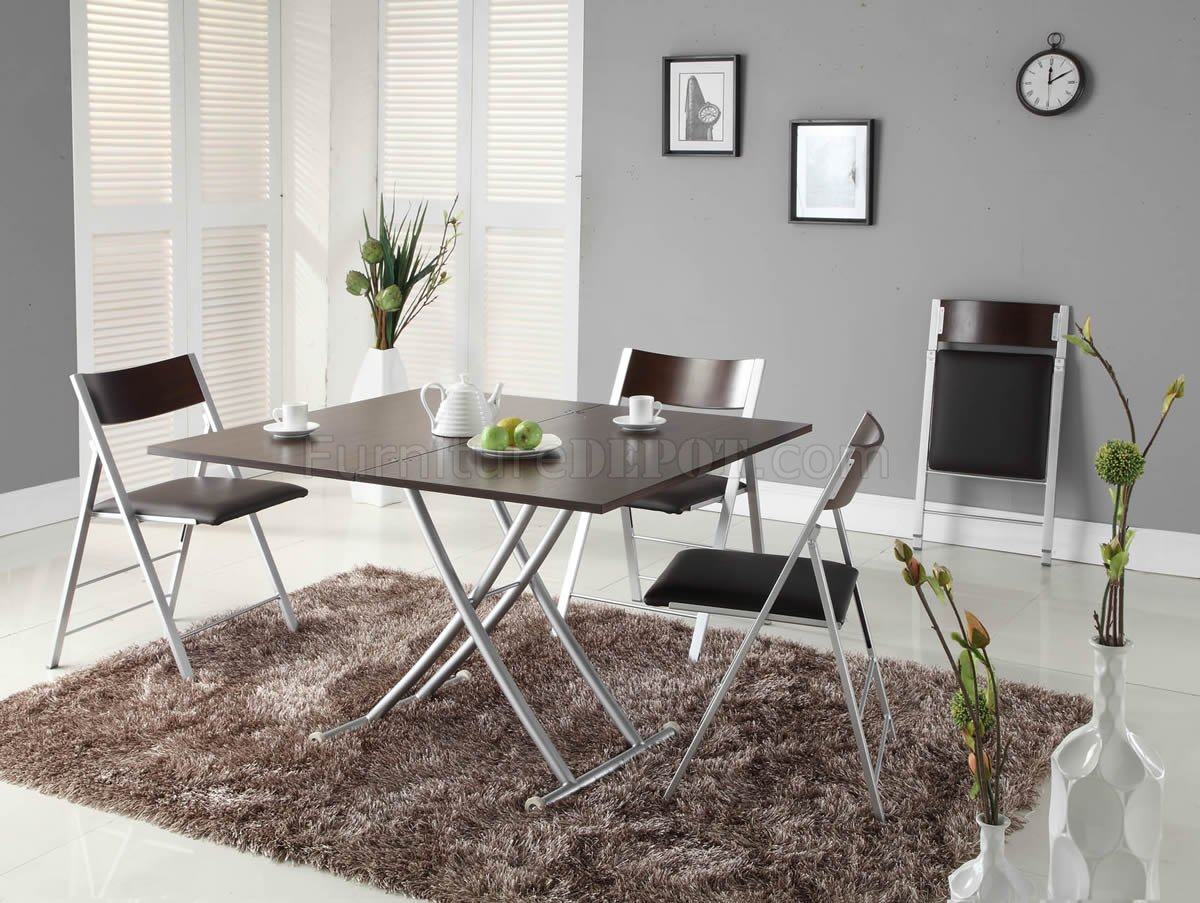 Brown Wood Top Metal Base Modern Dining Table W Options