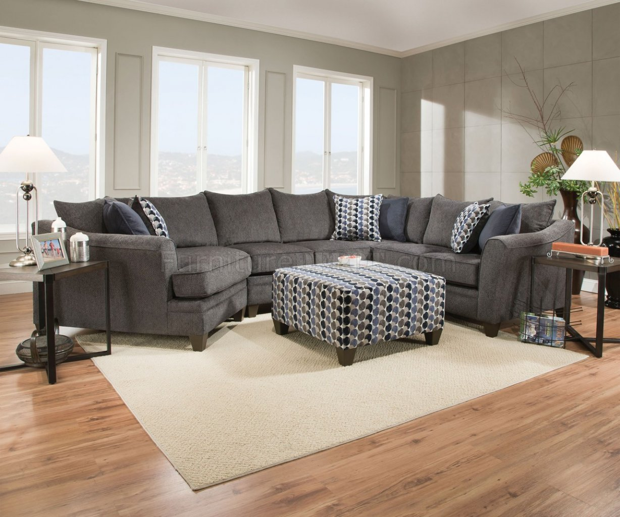 albany sectional sofa in grey fabric by acme woptions p