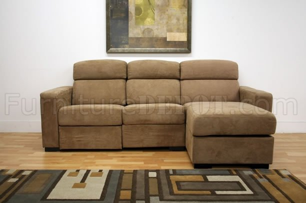 Tan Microfiber Modern Reclining Sectional Sofa W Storage