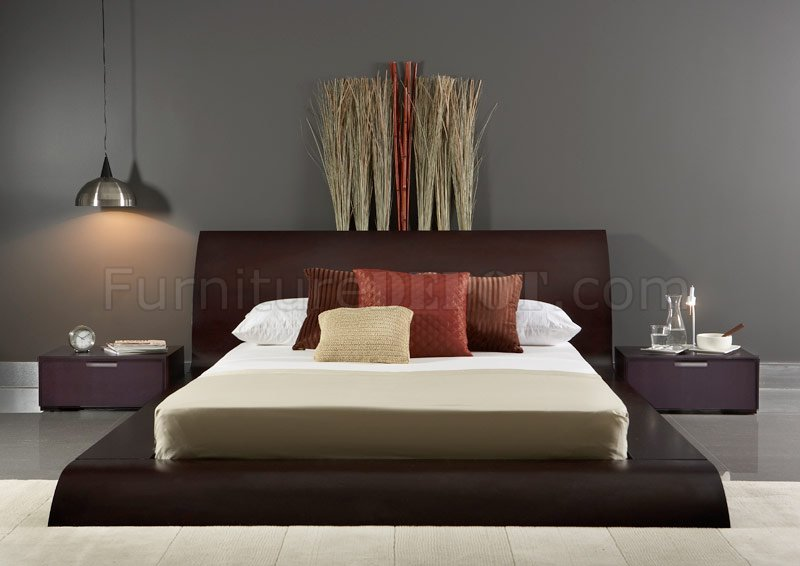 Wenge Finish Modern 3Pc Bedroom Set WQueen Size Platform Bed