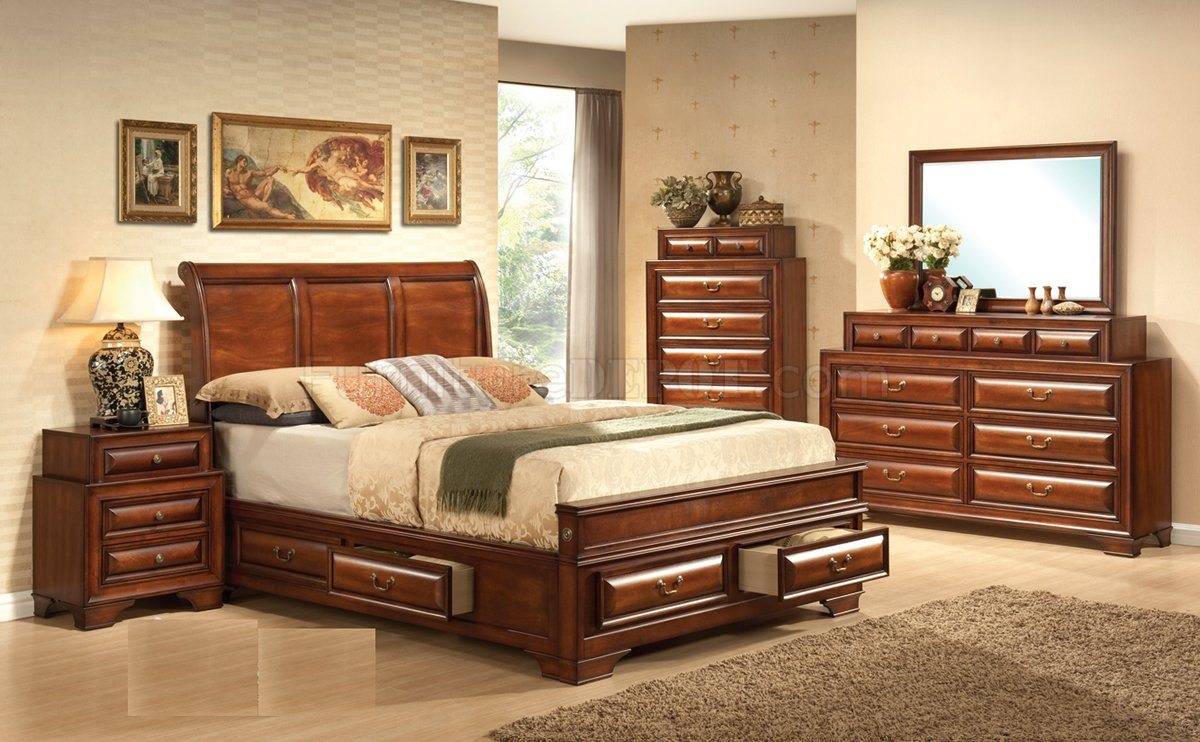 Warm cherry finish transitional bedroom w optional items for Transitional bedroom furniture