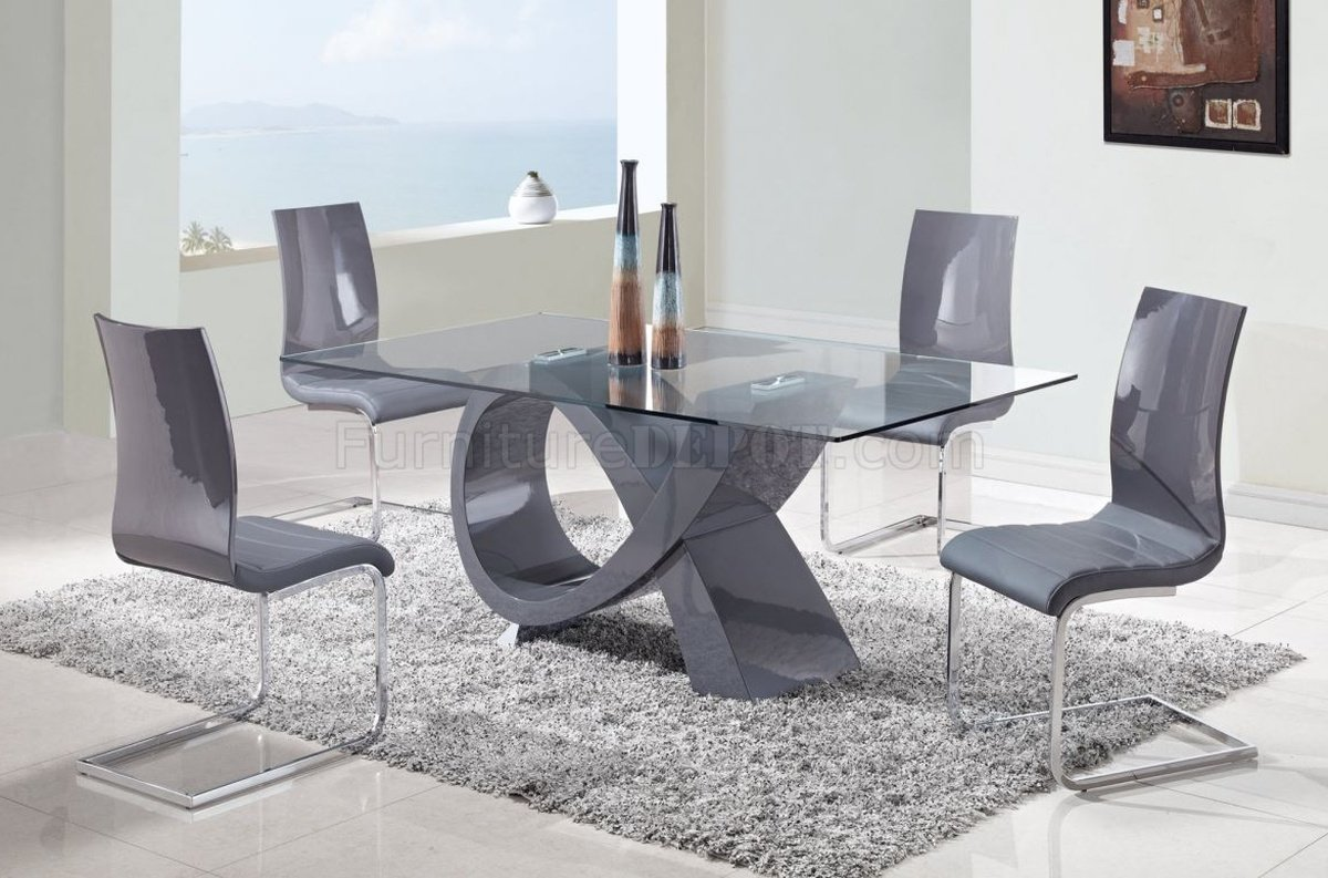 D989 Dining Table w/Glass Top & Grey Base by Global w/Options