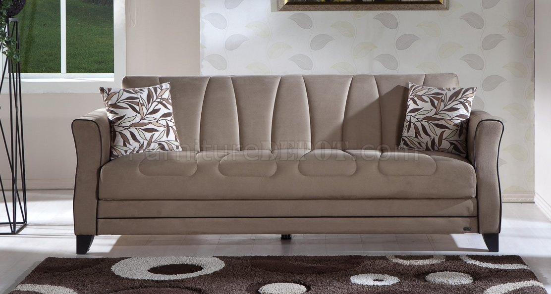 Rainbow Dark Beige Fabric Living Room Sleeper Sofa W Storage