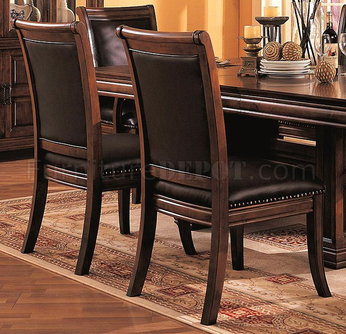 3635 formal dining room in cherry by coaster w leather seats rh furnituredepot com