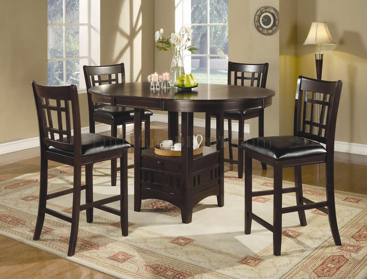 Dark Brown Finish Modern 5Pc Counter Height Dining Set CRDS 102888 1