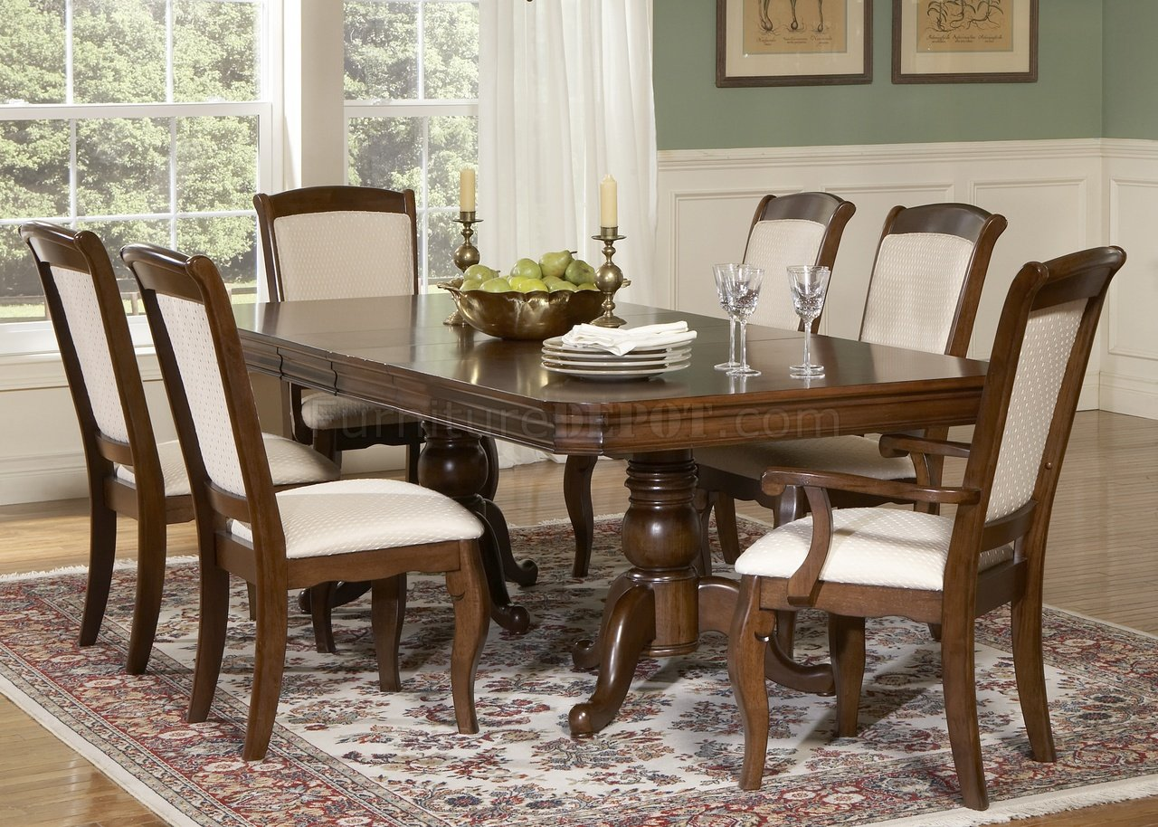 furniture living room furniture dining room furniture cherry finish pedestal formal dining table w options 27887