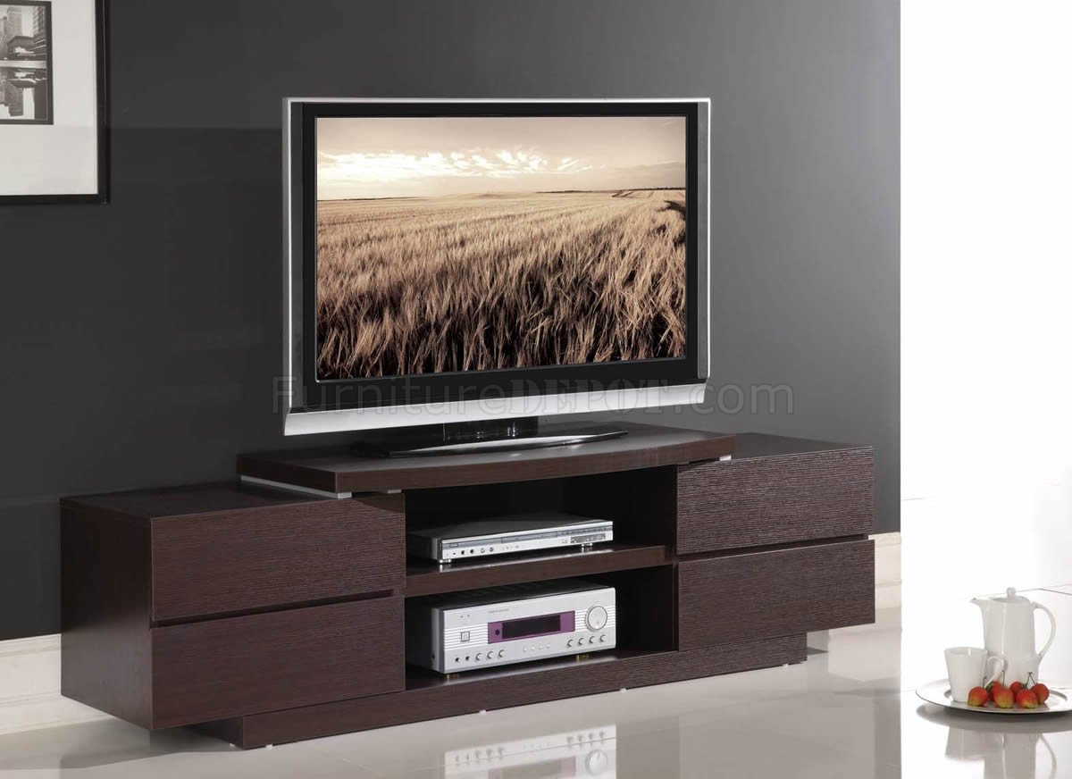 wenge finish modern tv stand w open shelves. Black Bedroom Furniture Sets. Home Design Ideas