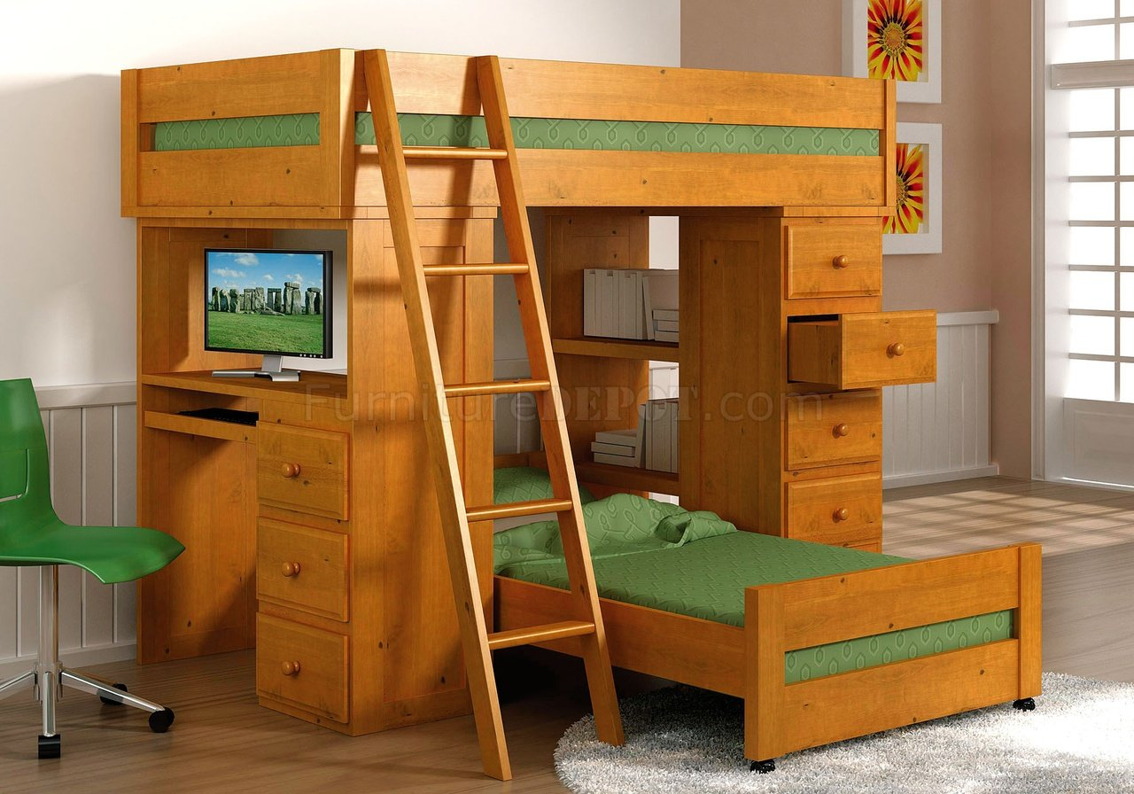 Natural Honey Contemporary Kids Bed W Trundle Amp Storage