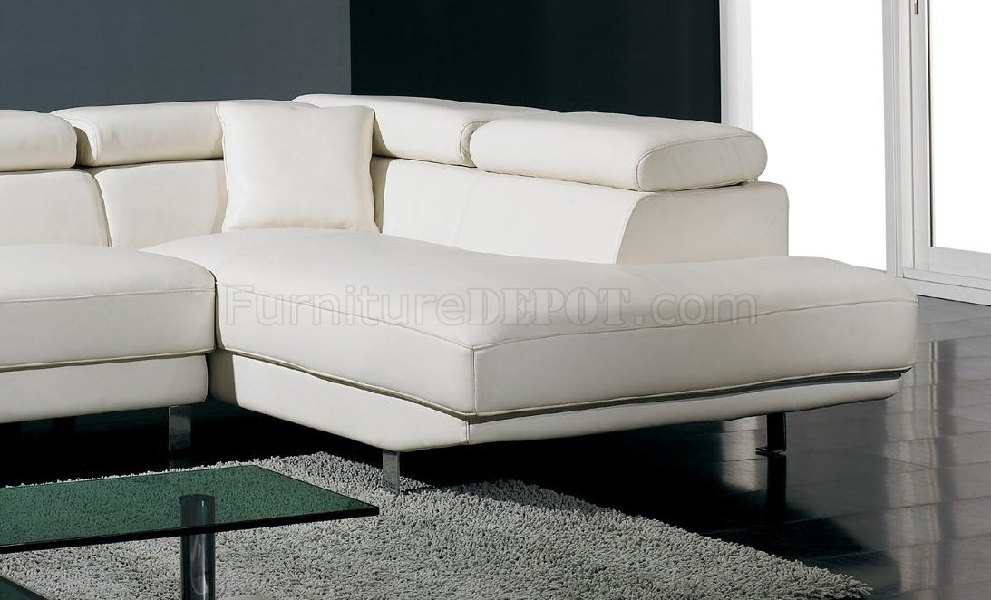 White Leather Sectional Sofa Modern And Black