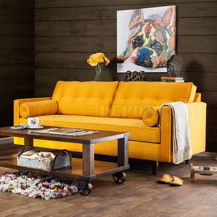 Yellow Leather Sectional Sofa: Madelyn Sofa SM8818 In Yellow Fabric