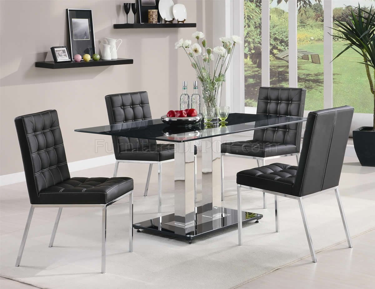 Tempered Glass Top Modern 5Pc Dining Set w/Chrome Finish Base