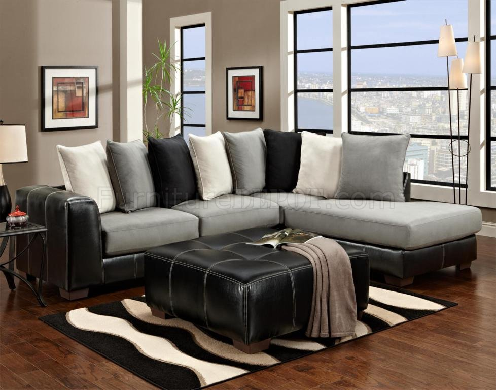 Black Vinyl u0026 Grey Fabric Modern Sectional Sofa w/Options