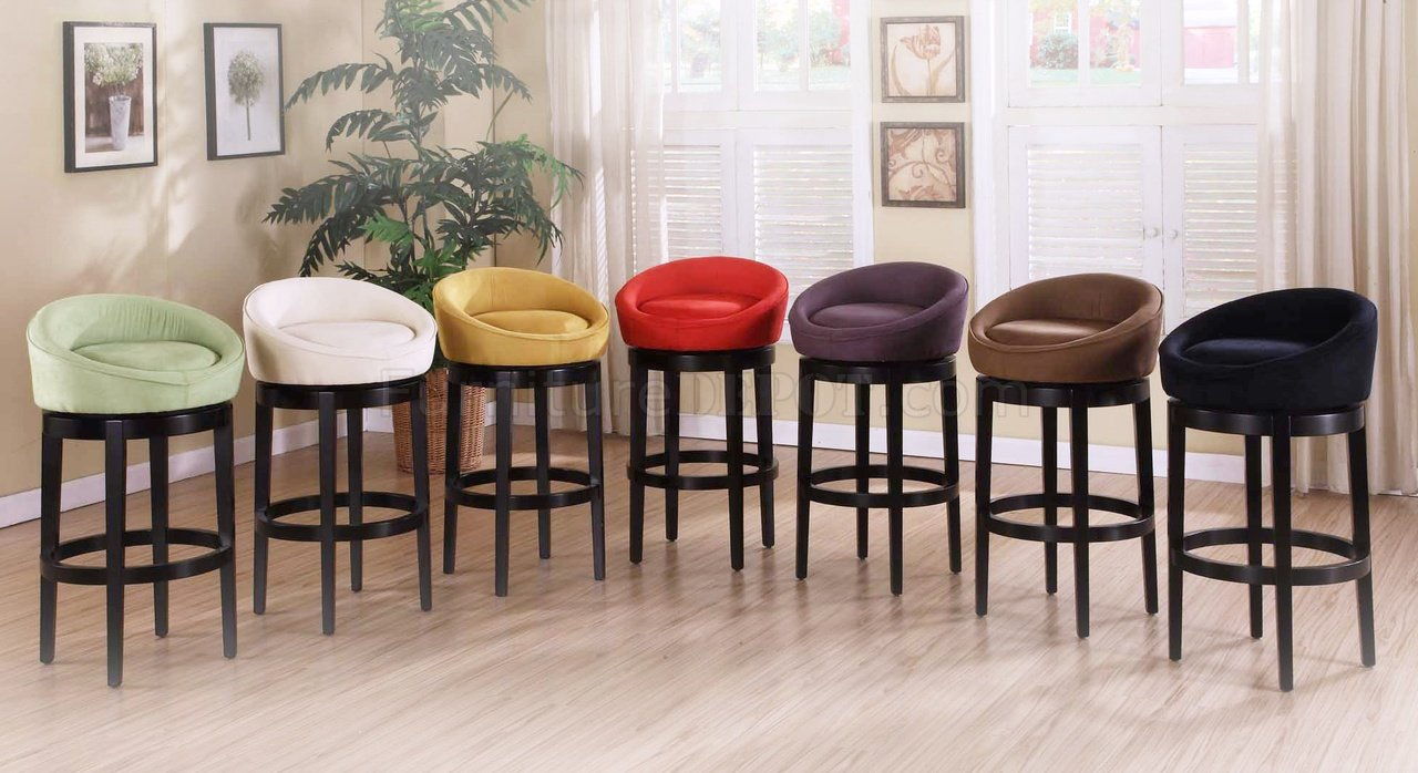 Choice Of Color Microfiber Set Of 2 Igloo Swivel Barstools