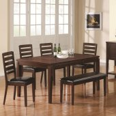Dark Brown Finish Modern Dining Table w/Extension Leaf & Options