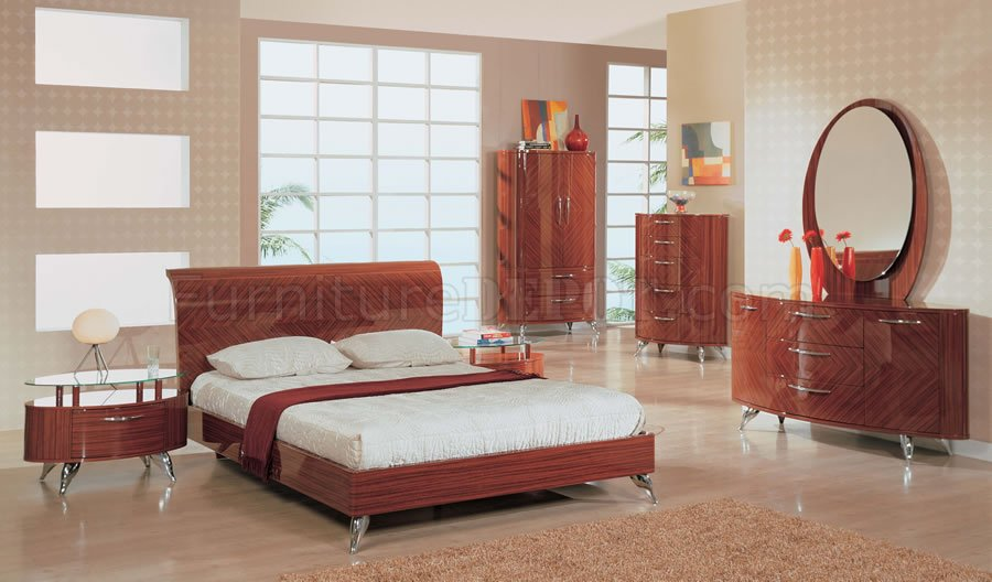 6 Piece Contemporary Bedroom Set In High Gloss Cherry Finish