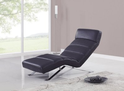 Contemporary Furniture Chaise on Bonded Leather Modern Chaise Lounger W Chrome Legs At Furniture Depot