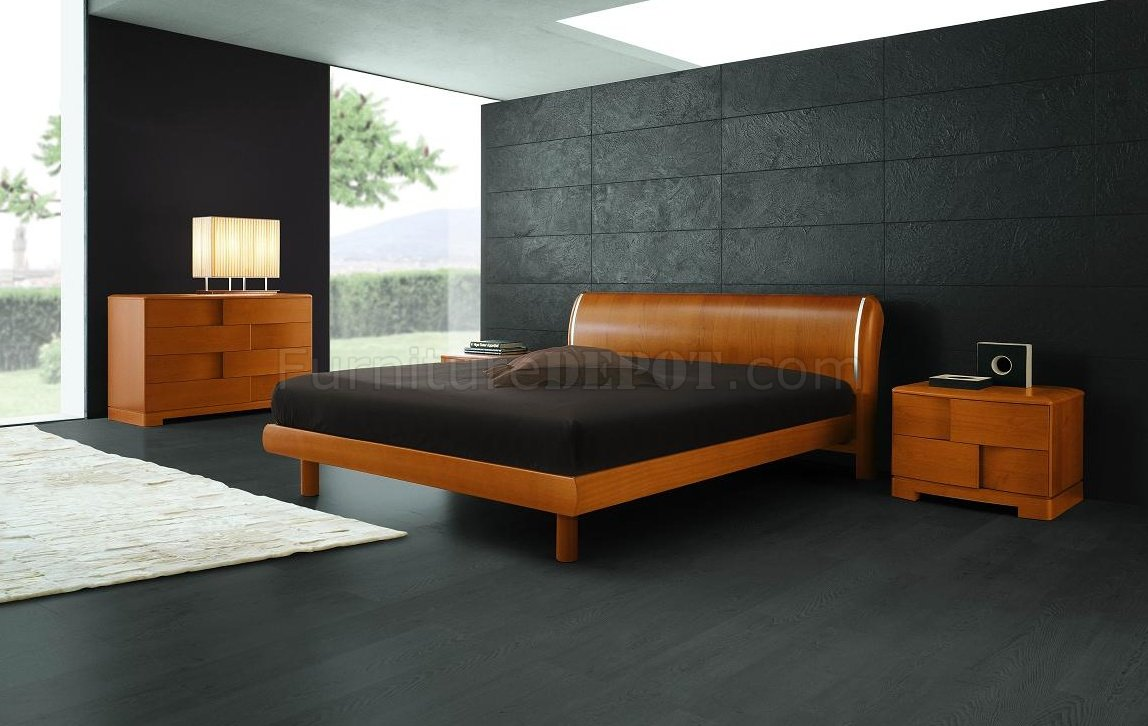 Cherry Finish Modern Bedroom Set With Basketwave Illusion