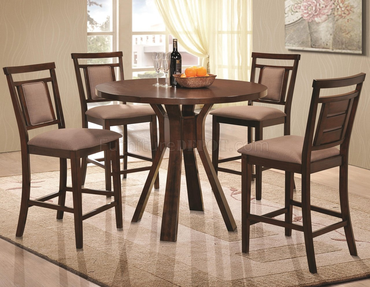 105648 Colona 5pc Counter Height Dining Set Coaster Dark Brown
