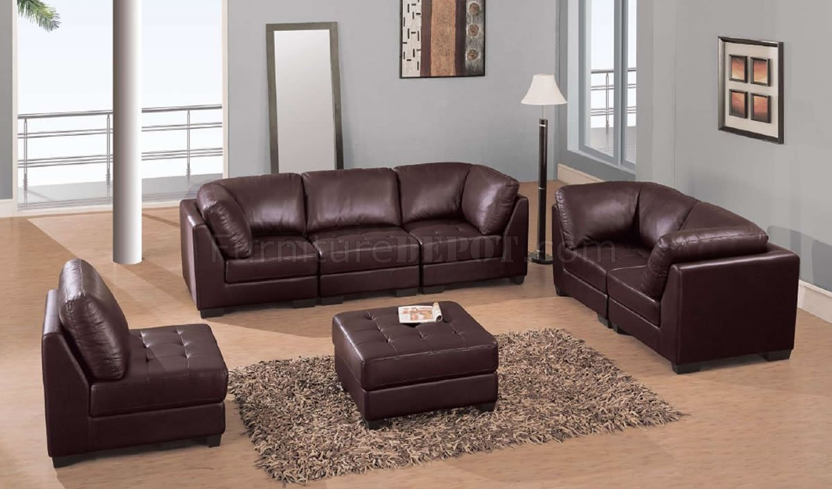 Brown leather elegant contemporary living room with tufted - Elegant contemporary living rooms ...