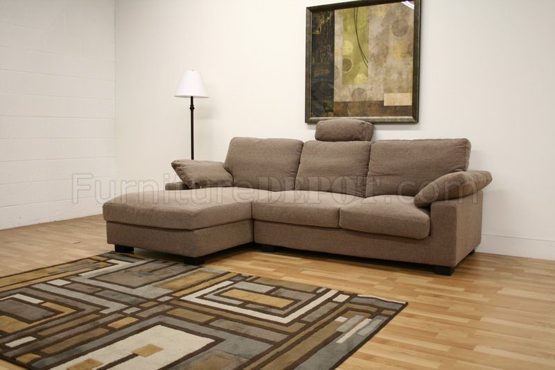 Tan Twill Fabric Modern Sectional Sofa Priscilla