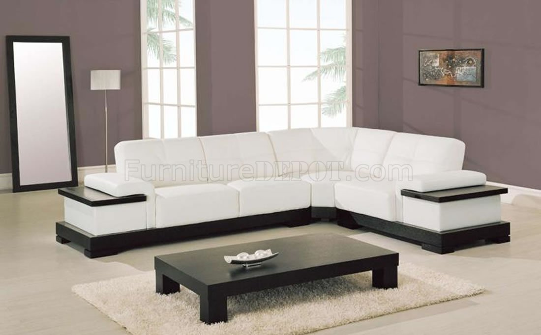 White Leather Contemporary Sectional Sofa W Cappuccino