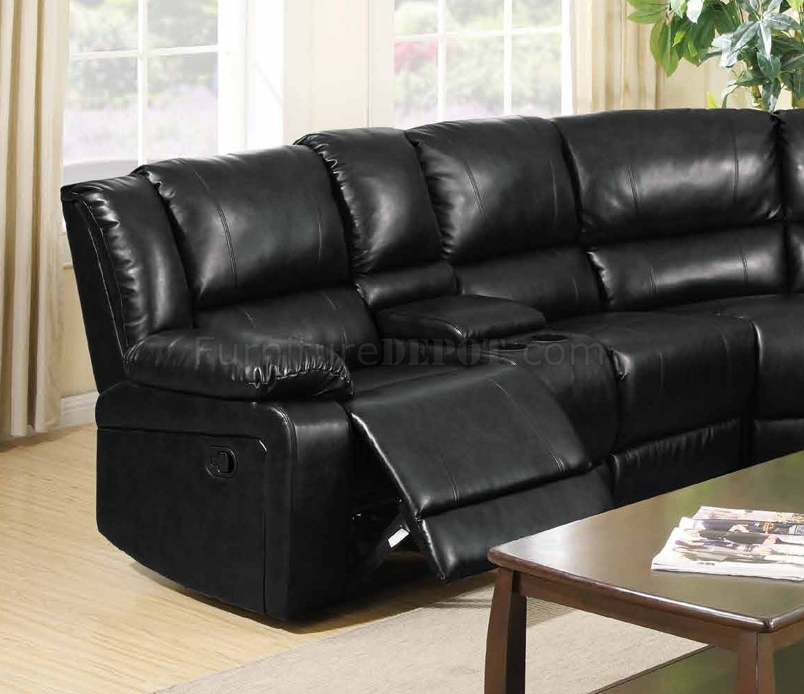 8300 Reclining Sectional Sofa In Black Bonded Leather W