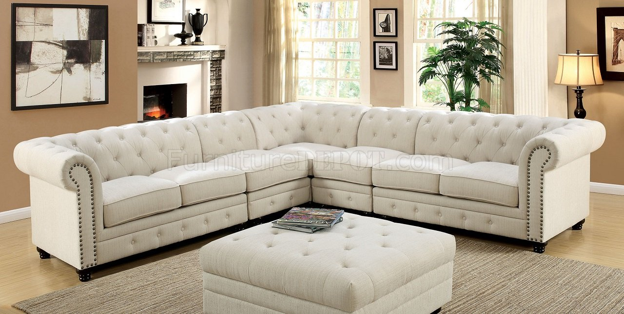 Stanford Ii Sectional Sofa Cm6270iv In Ivory Fabric W Options