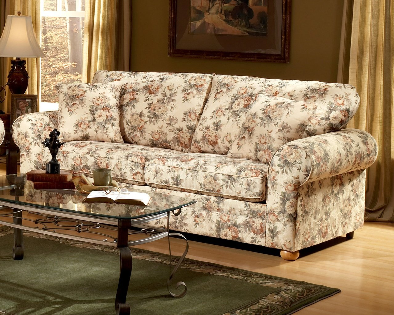 Floral pattern fabric traditional sofa loveseat set Fabric sofas and loveseats