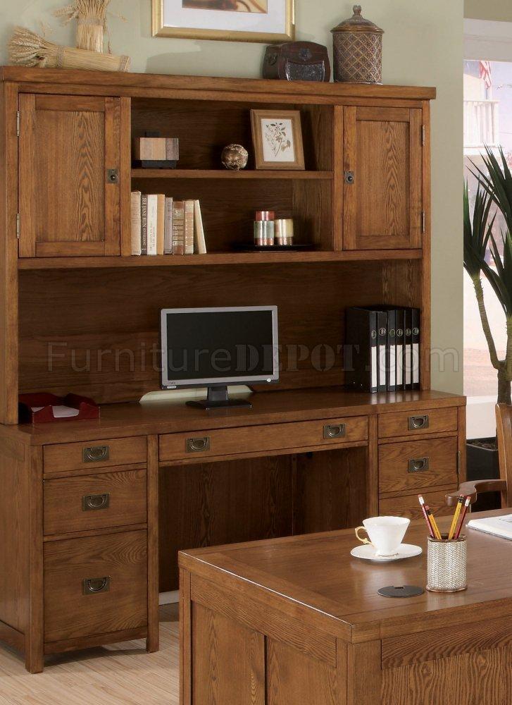 Light Wood Finish Clic Office Desk W Antiqued Hardware