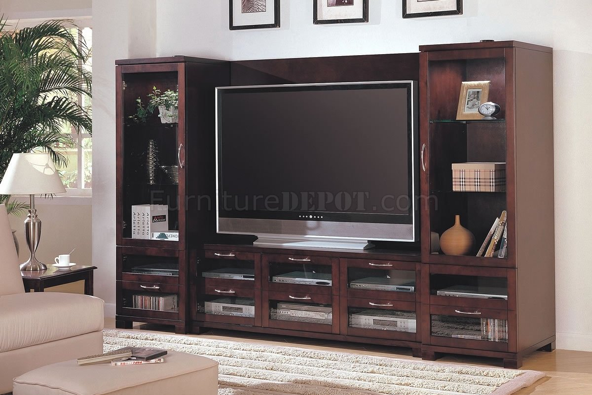 Cappuccino finish modern entertainment wall unit w glass doors How to build an entertainment wall unit
