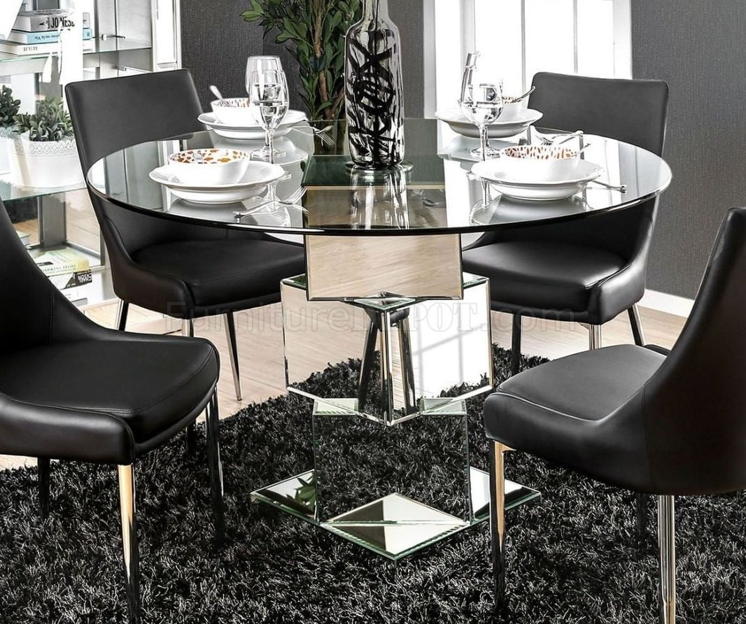 Izzy Round Dining Table Cm3384rt In Mirror Amp Chrome W Options