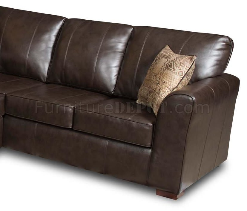 Brown Bentley Bonded Leather Modern Sectional Sofa W/Options