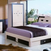Two-Tone Beige & Wenge Matte Finish Modern Bed
