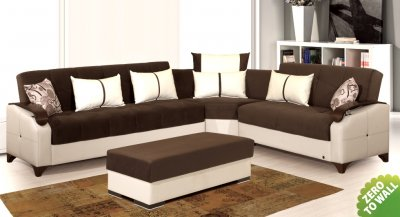 Rosso Sectional Sofa Bed in Brown Microfiber by Rain