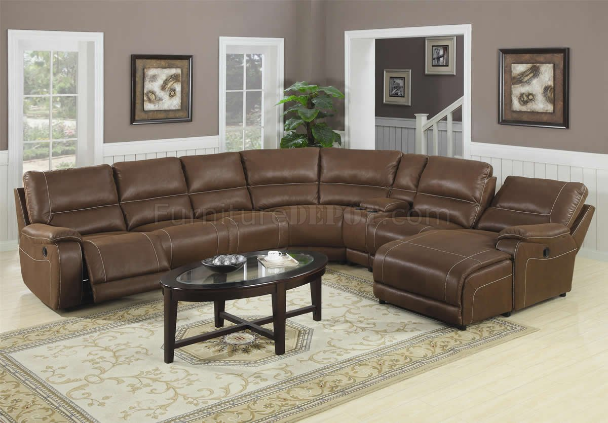 Attractive Brown Suede-Like Padded Microfiber Reclining Sectional Sofa IA66